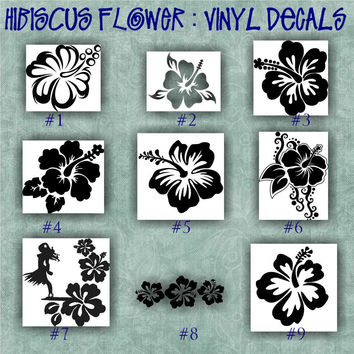 HIBISCUS FLOWER vinyl decal | decal | sticker | car decals | car stickers | laptop sticker - 1-9