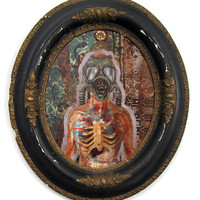 Framed Original Mixed Media Oil PAINTING - Gas Mask - SKELETON - ANTIQUE Frame