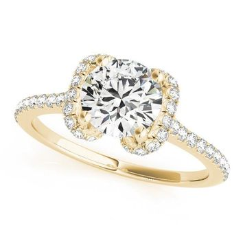 Patricia Round Moissanite Bow Halo 4 Prong Engagement Ring