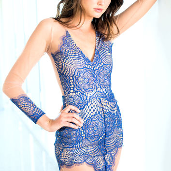 For Love & Lemons Antigua mini dress in sapphire