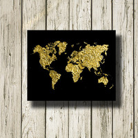 World Map Gold Black Print Golden Printable Instant Download Digital Art Print Wall Art Home Decor G127