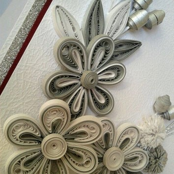 Unique handmade greeting card, Quilling, Wedding Card, Birthday Card, Christmas Card,Love