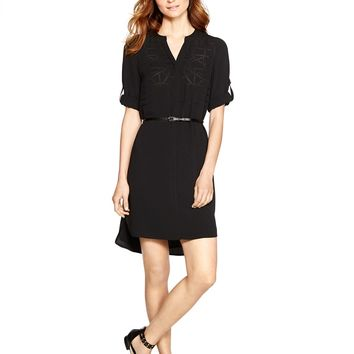 White House | Black Market 3/4 Sleeve Laser Cut Black Shirtdress