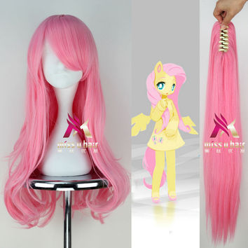 Long Wavy Pink  My Little Pony Fluttershy Cosplay Anime Wig with Claw Ponytail Set + Free wig cap