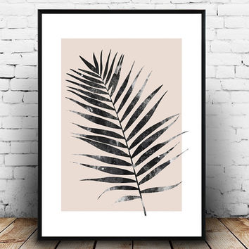 Palm leave print, nordic design, pink art, living room decor, home wall art, Scandinavian design, minimal poster, simple art, watercolor art
