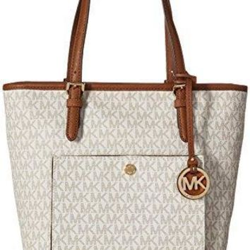 Michael Kors Mk Jet Set Signature Shoulder Bag Vanilla Large