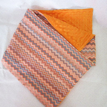 Sale - Orange and Gray Chevron Flannel and Minky Crib or Toddler Quilt, Security Blanket - Modern Colors and Pattern - Receiving Blanket