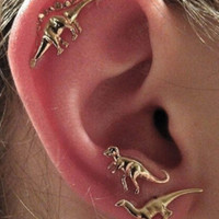 Gold Dinosaur 3 Pack Earrings