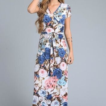 Floral Wrap Maxi Dress - Light Blue