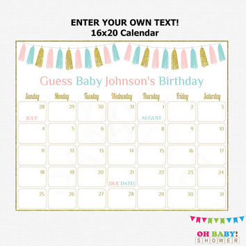 16x20 Editable Due Date Calendar, Pink and Blue Baby Shower, Gender Neutral Baby Shower, Guess the Birthday, Printable Download, TASPBG