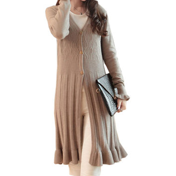 4 Colors 2016 Autumn Winter Long Cardigan Sweater Coat For Women Oversized Sweaters Single Breasted Ruffle Hem Knit Jumper