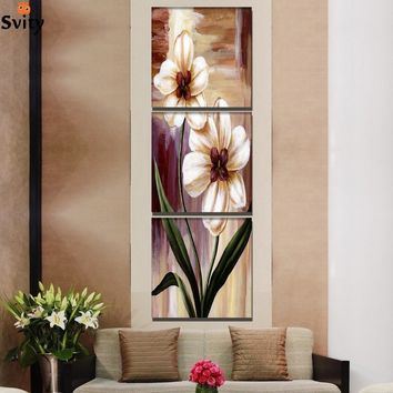 3 Panel Flower Painting print On Canvas wedding decoration Wall Art Modular Picture Home Decor For Living Room No Framed