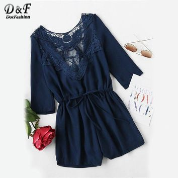 Dotfashion 2017 Lace Panel Tie V Back Romper Ladies Drawstring Waist Round Neck Playsuits Summer Navy 3/4 Sleeve Romper