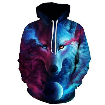 Hot Sale Brand Wolf Hoodies Men/Women Space Galaxy 3D Sweatshirts High Quality Pullover Novelty Street Wear Male Hooded Jacket