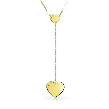 Sweet Heart Shape Lariat Pendant Y Necklace 14K Gold Plated Silver