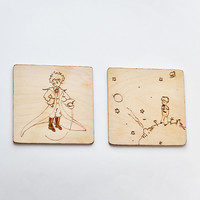The Little Prince Wooden  Coaster set of 2 - Woodburned Wood Coasters - Pyrography Le Peptit Prince Coasters