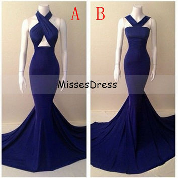 Long Mermaid Prom Dress 2017 Halter Sleeveless Formal Floor Length Stretch Satin Royal Blue Prom Dresses