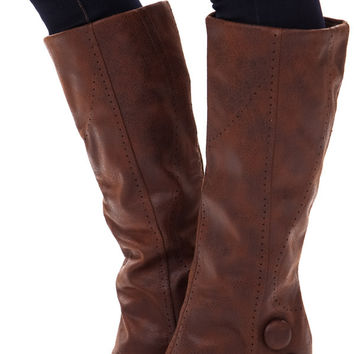 Tan Overlay Wedge Button Boot