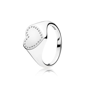 Heart Signet Ring, Clear CZ