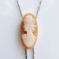 Cameo Necklace Jewelry Long Lariat Y Necklace OOAK