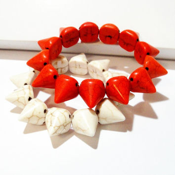 Orange White  Spikes Cone Gemstone Elastic Bracelet, Bullet Stud Sharp Spikes Cone Elastic Bracelet, Punk Hippie select Your Color