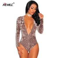 ADEWEL Hot Deep V Neck Velvet Overalls For Women Long Sleeve Playsuit Knotted Pleated Sexy Bodysuit