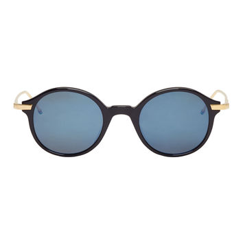 Thom Browne Navy And Gold Round Sunglasses