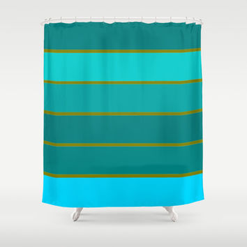 Mint Teal & Golden Green STripes Shower Curtain by 2sweet4words Designs | Society6
