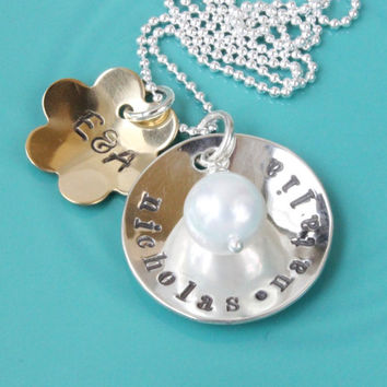 Family necklace name charm couple initials hand stamped personalized kids names sterling silver brass mixed metal gift for mom mommy jewelry