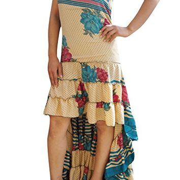 Womens Swirling Hi Low Dress Recycled Silk Ultimate Allure Flare Tiered Design Strapless Sundress