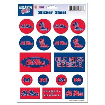 "MISSISSIPPI OLE MISS REBELS 5""x7"" LOGO STICKER SHEET BRAND NEW WINCRAFT"