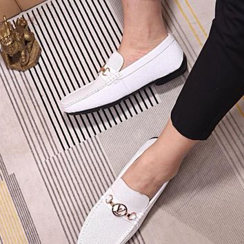 LV Louis Vuitton Men's Vintage Leather Casual Loafer Shoes Best Quality white