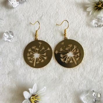 Gold Dandelion Cutout Earrings