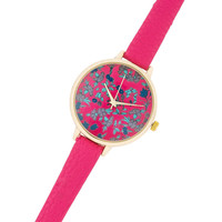 Womens Analog Floral Print Watch Pink