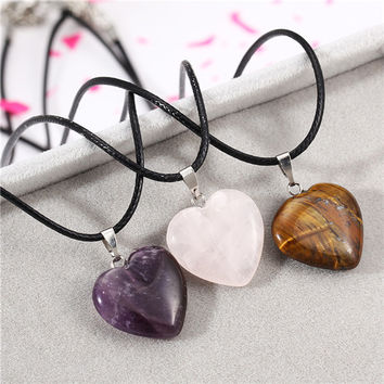 New Arrival Heart Rose Quartz Amethyst Fluorite Pendant Necklace Leather Chain Jewelry For women