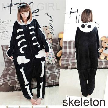 Cool Skeleton - Pajamas Anime Onesuit Cosplay Costume Unisex Sleepwear Party Nightgown with Pockets