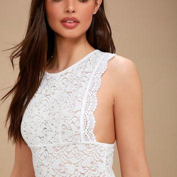 Sure Thang White Lace Tank Top