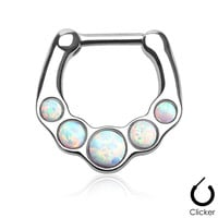 White Fire Opal Septum Clicker Surgical Steel Nose Jewelry 16ga Body Jewelry