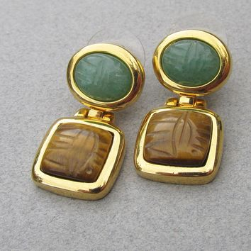 Signed KJL Kenneth Jay Lane 1990's Vintage Dangle Genuine Gemstone Scarab Pierced Earrings