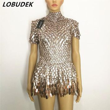 Female Crystal costumes Sparkly Sequins leotard Bodysuit sexy catsuit Bar Nightclub DJ singer DS stage performance dance clothes