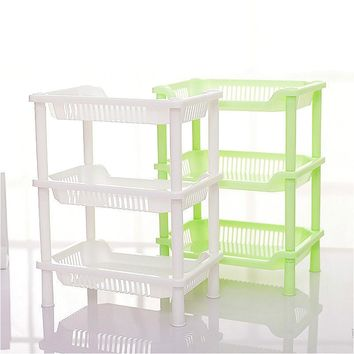Multifunction Bathroom Plastic Shelves Kitchen Storage Rack Square Bathroom Desktop Makeup Storage Rack Green