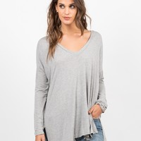 Flowy V-Neck Long Sleeve Tee