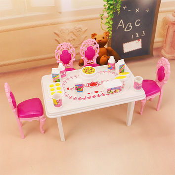 17pcs In 1 Dinner Table Set For Barbie And Kelly Doll's House Furniture Doll Accessories.