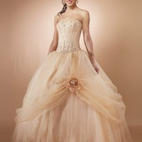 Ball Gown Strapless Embroidery Sleeveless Floor-length Organza Prom Dresses Evening Dresses