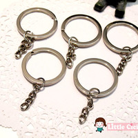 SALE 5pcs 30mm Silver Color Key Holder in Round Shape with Chain Key Clasp Split Silver Ring Key Charms Key Chain Key Ring
