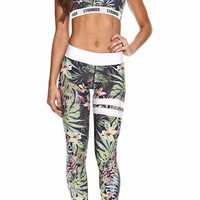 Tropical Printed Sports Bra Legging Set