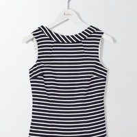 Martha Top (Navy and Ivory Stripe)