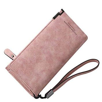 Womens RFID Blocking PU Leather Long Wallet Large Capacity Clutch Card Holder Organizer Zipper Buckle Coin Travel Purse with Removable Wrist Strap