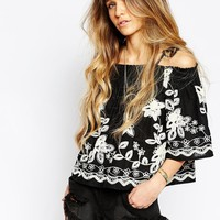 Kiss The Sky | Kiss The Sky Globe Trotter Embroidered Cold Shoulder Top at ASOS