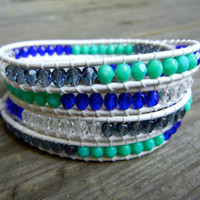 Beaded Leather Wrap Bracelet 4 Wrap with Turquoise Blue and Clear Czech Glass Beads on White Leather Nautical